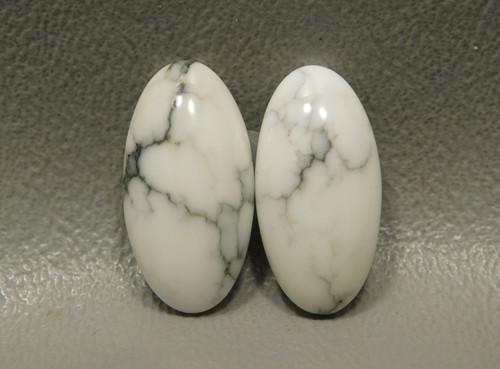 Cabochons Howlite Matched Pair Stones White Semi Precious #5