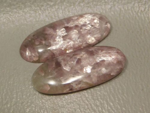 Oval Purple Lepidolite Matched Pair Stones Cabochons #6