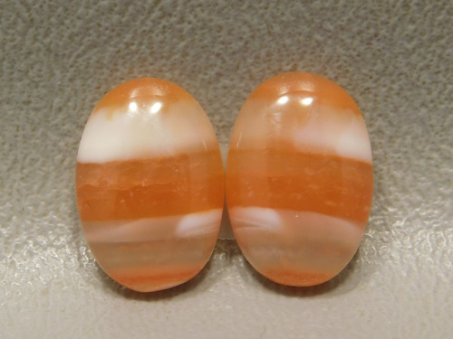 Oval Stone Cabochons Orange Banded Carnelian Agate Matched Pair #3