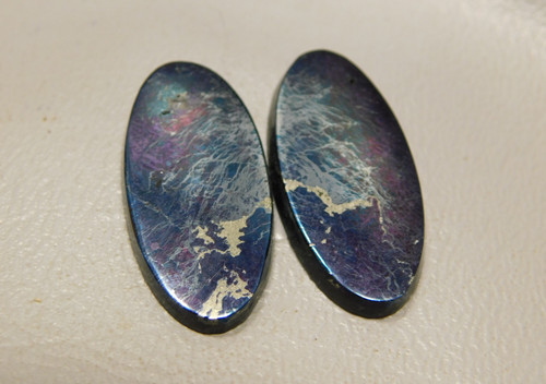 Covellite Cabochon Stones Ovals Matched Pairs for Earrings #20