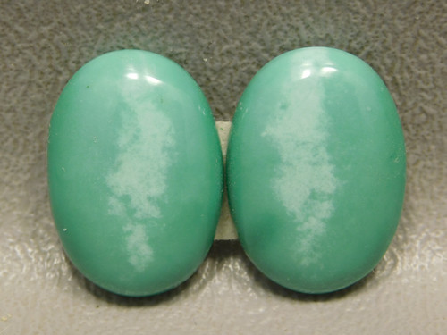 Variscite Matched Pair Utah Green Cabochons for Earrings #7