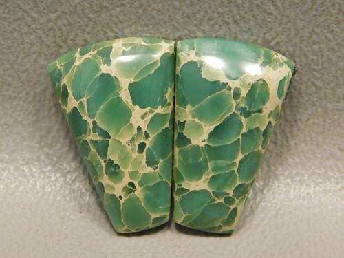 Green Variscite Matched Pair Trapezoid Semiprecious Stones  #12