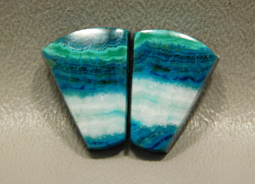 Chrysocolla Malachite Matched Pair Trapezoid Cabochons for Earrings #34