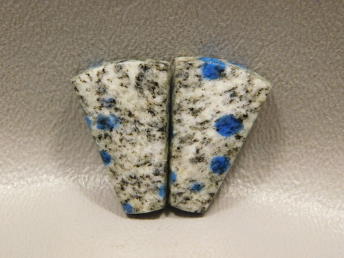 Cabochons K2 Blue Dotted Azurite Granite Pair for Earrings #2