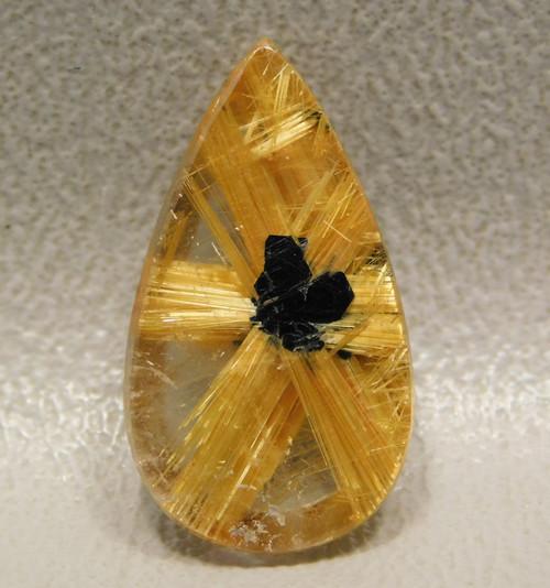 Eatrhmined Trapiche Rutile Quartz for Jewellery Pendant Natural Star Rutilated Quartz 17.55 CT 18.7x16.4 MM Star Rutile Quartz Pendant
