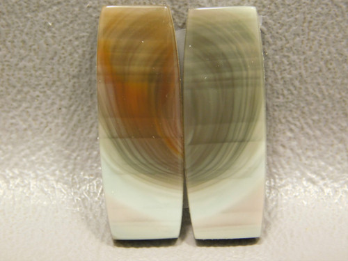 Royal Imperial Jasper Matched Pair Cabochon Green Barrel Shaped #2