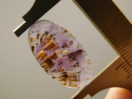 Cacoxenite Amethyst Quartz Purple Gold Gemstone Cabochon #9