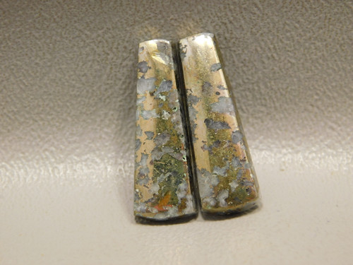 Mohawkite Matched Pair Cabochons Gold Silver Gemstone #9