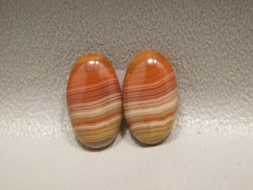Laguna Agate Red Banded Matched Pair Cabochons Loose Stones #1