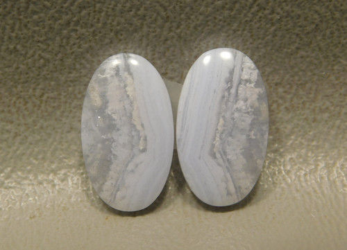 Blue Lace Agate Matched Pair Small Oval Earring Cabochons #19