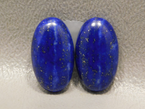 Navy Blue and Gold Pyrite Lapis Lazuli Matched Pair Stone Cabochons #3