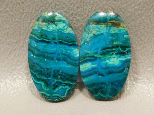 Chrysocolla Malachite Earrings Stones Cabochons Arizona #32