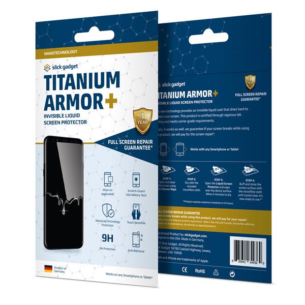 Titanium Armor Plus, Liquid Glass Screen Protector with Full Screen Guarantee