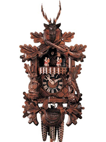 634-3T Carved Live Hunters 1 Day Cuckoo Clock