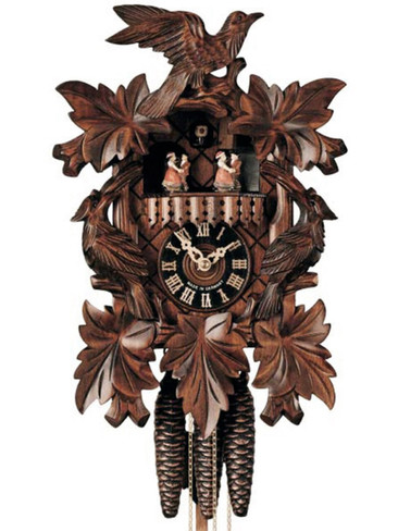 601-3T Carved3 Birds Musical 1 Day Cuckoo Clock