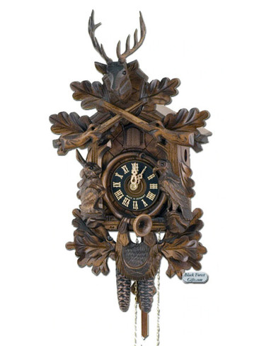 134-3NU Carved Live Hunters 1 Day Cuckoo Clock