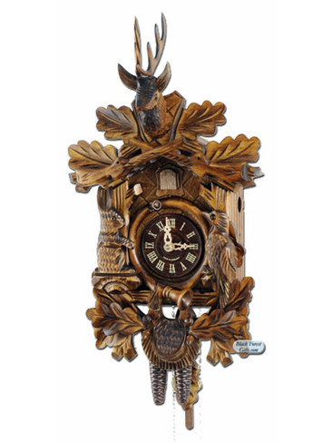 400-1-17BF Carved Dead Hunters 1 Day Cuckoo Clock