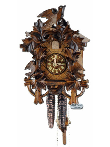 250-1-10BF 3 Bird Deep Carved 1 Day Cuckoo Clock