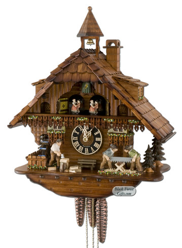 6275T Musical Wood Sawers and Chopper Chalet 1 Day Cuckoo Clock