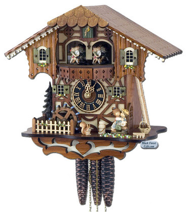 6205T Musical Kissing Couple Chalet 1 Day Cuckoo Clock