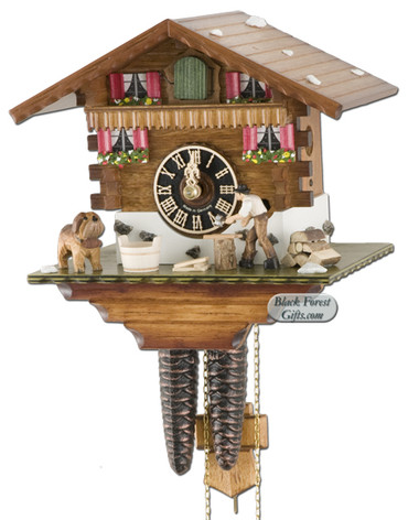 149 Wood Chopper Chalet 1 Day Cuckoo Clock