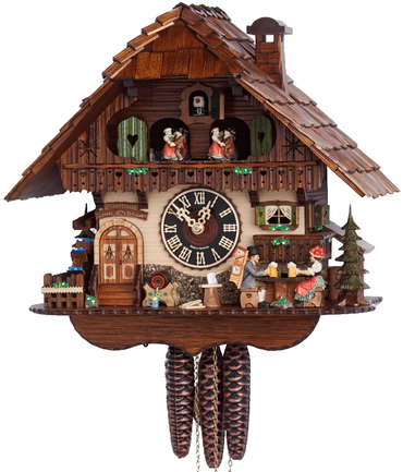 6763T Musical Black Forest Couple Drinking Beer Chalet 1 Day Cuckoo Clock