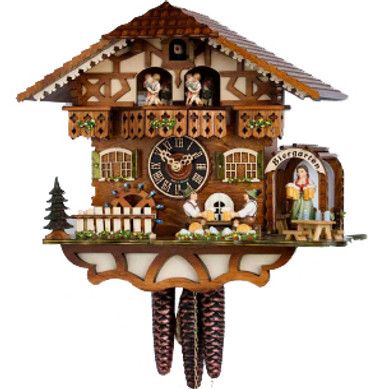 6764Tzenzi Musical Bavarian Beer Garden Chalet 1 Day Cuckoo Clock