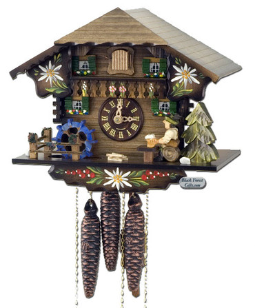 600-1-9MBF Musical Beer Drinker Chalet 1 Day Cuckoo Clock