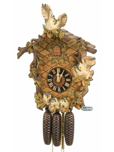 8639-6BU Hones LE 8 Day Carved Owls Cuckoo Clock