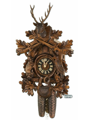 834-4NU Hones Carved Hunters 8 Day Cuckoo Clock