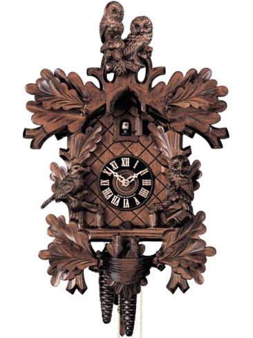 879-4 Hones 8 Day Owls Love Birds Cuckoo Clock