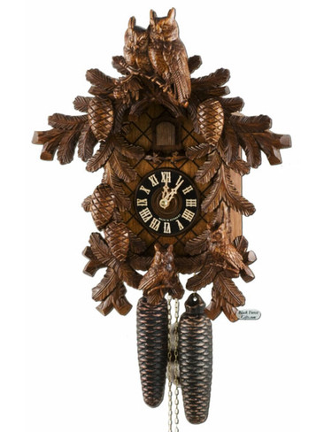 8710-4 Hones Carved Owls 8 Day Cuckoo Clock