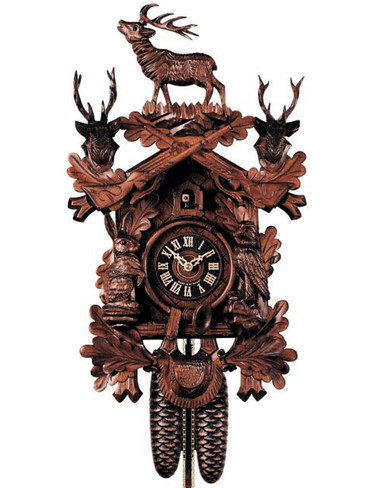 837-4 Hones Carved Hunters 8 Day Cuckoo Clock