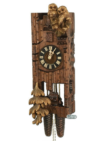 869 Hones Carved Owl 8 Day Cuckoo Clock