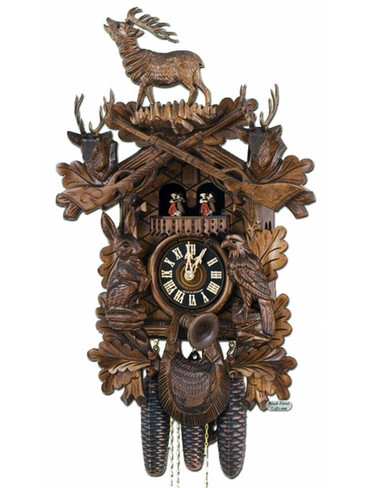 8637-4T Hones 8 Day Standing Stag Hunters Cuckoo Clock