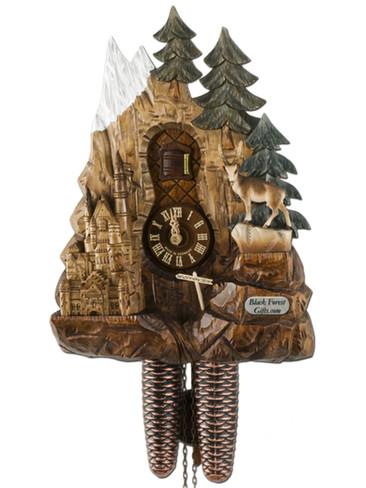 2021003P 8 Day Neuschwanstein Carved Cuckoo Clock