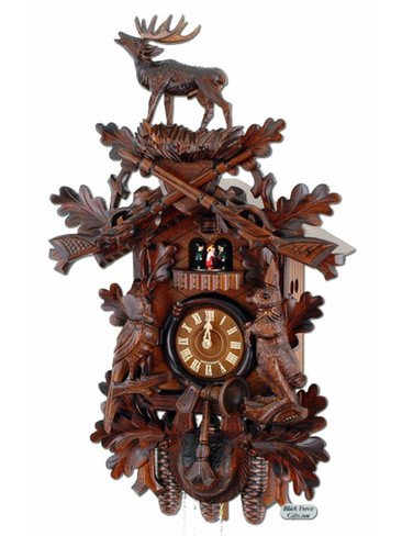 400-8-28BF 8 Day Standing Stag Hunters Cuckoo Clock