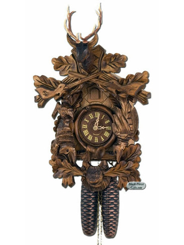 450-8-20BF 8 Day Carved Hunters Cuckoo Clock