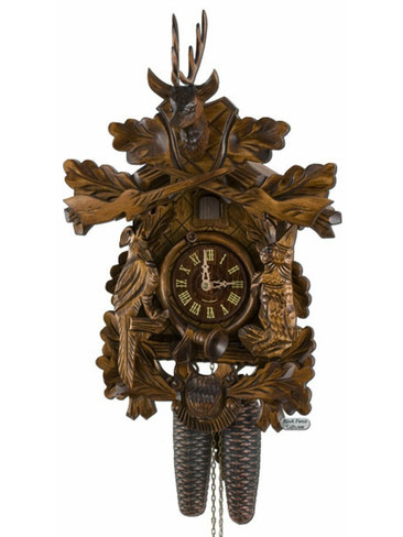 400-8-20BF 8 Day Carved Hunters Cuckoo Clock