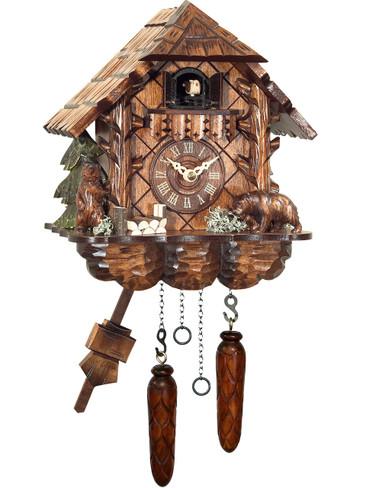404QM Quartz Carved Bears Cuckoo Clock