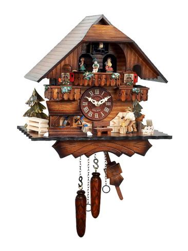 470QMT Quartz Wood Chopper Musical Cuckoo Clock