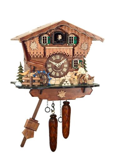 BF804BS Quartz Chalet Wood Chopper Cuckoo Clock