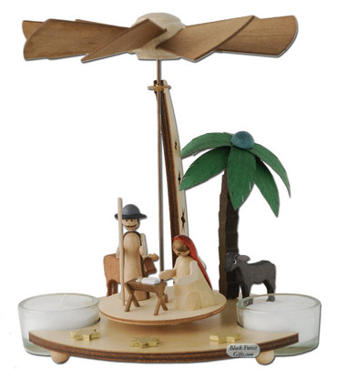 085-469 German Tea Light Christmas Story Pyramid