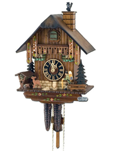 160 Peddler and Chimney Sweep Chalet 1 Day Cuckoo Clock