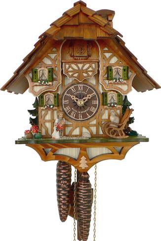 6412-9 1 Day Girl Feeding Geese and Cat Anton Schneider Cuckoo Clock