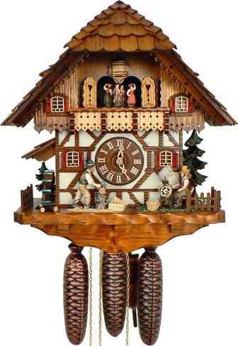 8TMT1483-9 8 Day Wood Chopper and Spinning Wheel Anton Schneider Cuckoo Clock