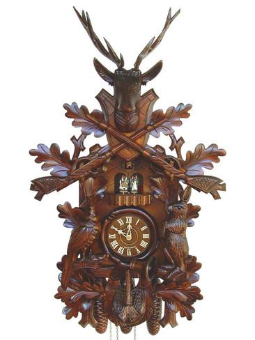 8TMT295-9 8 Day Live Animals Hunters Anton Schneider Cuckoo Clock