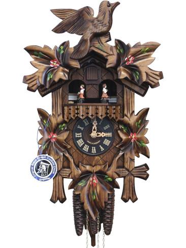 H104TM - Carved Wood hand painted musical german cuckoo