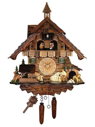 483QMT Quartz Wood Chopper Music and Dancers Cuckoo Clock
