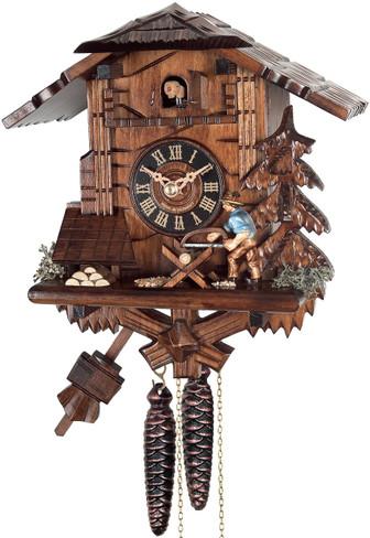 4358 Wood Chopper Chalet 1 Day Cuckoo Clock